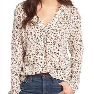 Hinge Long Sleeve Blouse Ivory Print V-neck Large